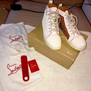 Christian Louboutin Flat Spike White Gold Sneaker